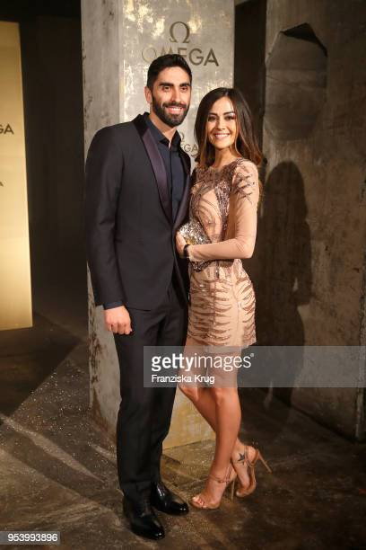 Swimmer Magnini Filippo and Giorgia Palmas attend the OMEGA Tresor Event at Kraftwerk Mitte on May 2 2018 in Berlin Germany