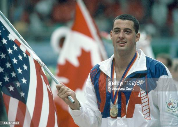 Swimmer Matt Biondi of the USA with one of his five gold medals during the Summer Olympic Games in Seoul South Korea circa September 1988