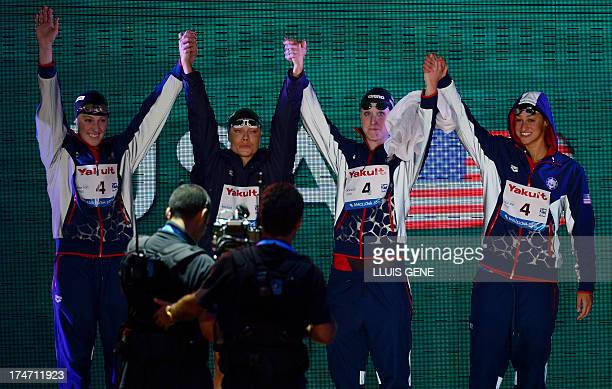 US swimmer Megan Romano Shannon Vreeland Natalie Coughlin and Missy Franklin arrive to compete in the final of the women's 4x100metre freestyle relay...