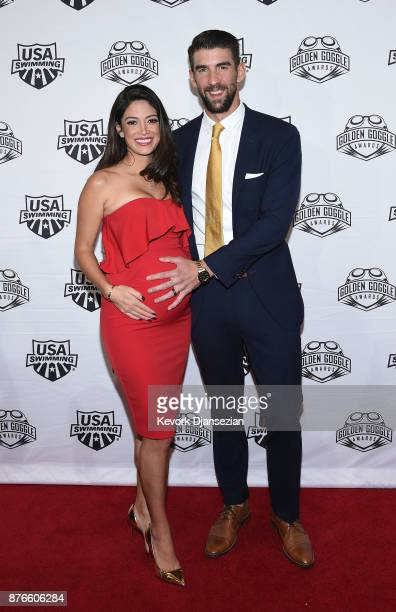 Swimmer Michael Phelps and wife Nicole Johnson attend the 2017 USA Swimming Golden Goggle Awards at JW Marriott at LA Live on November 19 in Los...