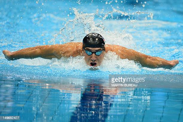 US swimmer Michael Phelps competes in the men's 200m individual medley semifinals swimming event at the London 2012 Olympic Games on August 1 2012 in...