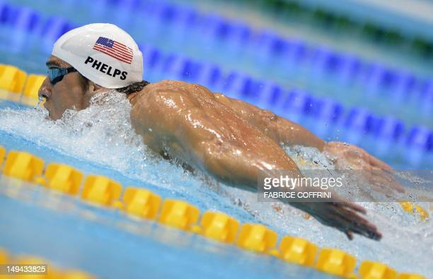 Swimmer Michael Phelps competes in the men's 400m individual medley heats swimming event at the London 2012 Olympic Games on July 28, 2012 in London....