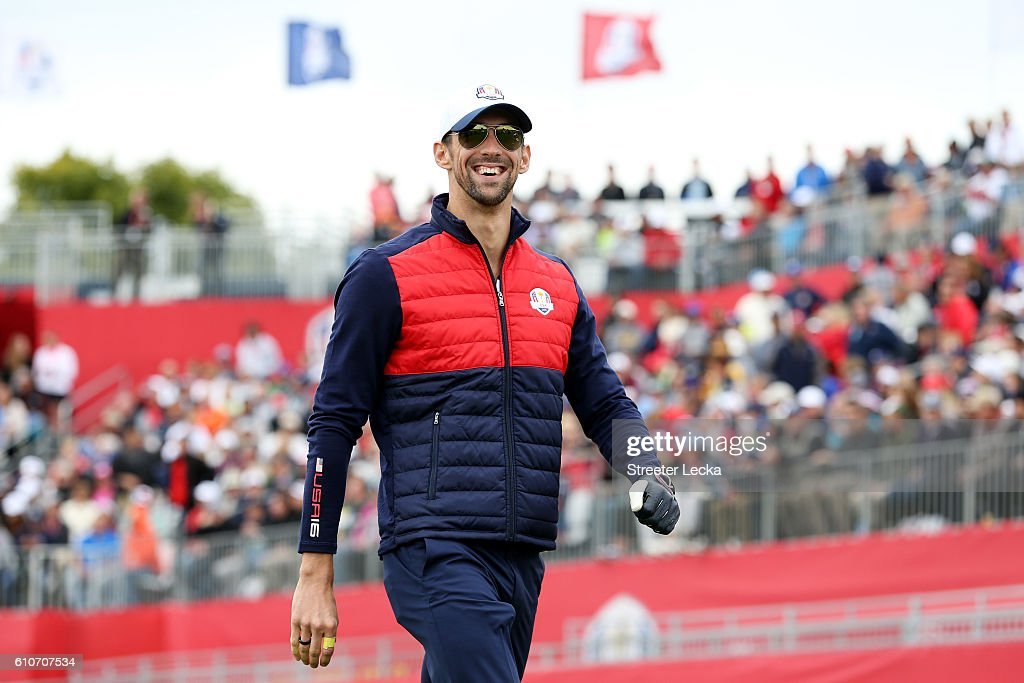 Swimmer Michael Phelps of the United States hits off the first tee during the 2016 Ryder Cup Celebrity Matches at Hazeltine National Golf Club on September 27, 2016 in Chaska, Minnesota.