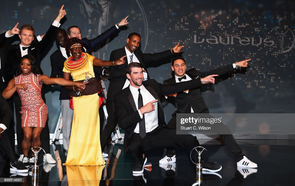 Swimmer Michael Phelps of the US, winner of the Laureus World Comeback of the Year poses on stage with other winners during the 2017 Laureus World Sports Awards at the Salle des Etoiles,Sporting Monte Carlo on February 14, 2017 in Monaco, Monaco.