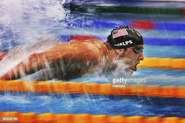Swimmer Michael Phelps powers along in his 200m butterfly semi finals on Day 4 of the swimming heats at the Beijing Olympics 2008 on October 14, 2008...