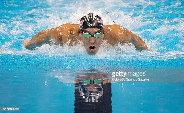 US swimmer Michael Phelps swims to a gold medal in the men's 200m Butterfly at the Olympic Aquatic Stadium in Rio de Janeiro Brazil on Tuesday Aug 9...