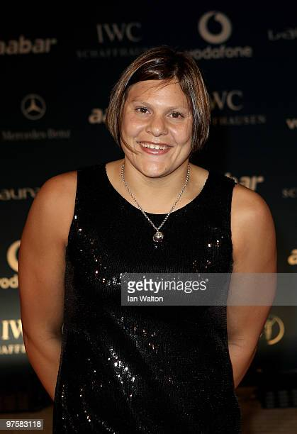 Swimmer Natalie Du Toit attends the Laureus Welcome Party part of the Laureus Sports Awards 2010 at the Fairmount Hotel on March 9 2010 in Abu Dhabi...