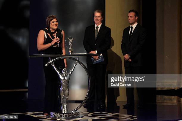 Swimmer Natalie du Toit speaks after accepting the award for ' Laureus Disability Award' on stage during the Laureus World Sports Awards 2010 at...