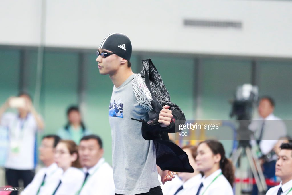 Swimmer Ning Zetao reacts during the Men's 100m freestyle final match of the 13th Chinese National Games on September 4, 2017 in Tianjin, China.