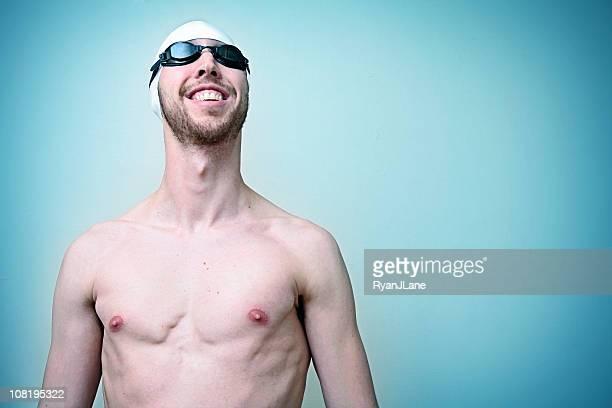 水泳のポートレート、コピースペース付き