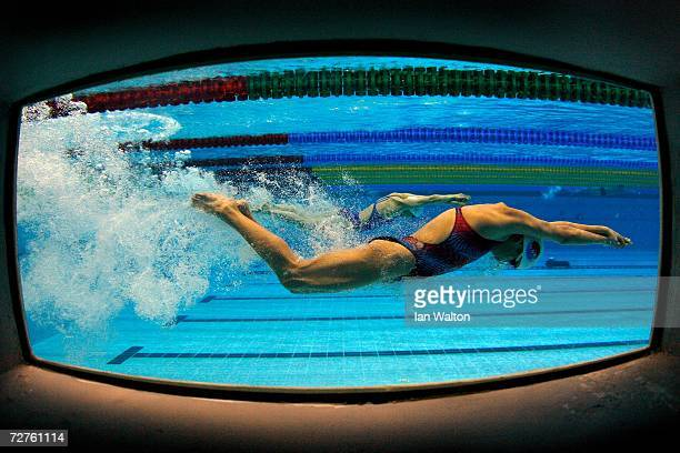 A swimmer practises at the 15th Asian Games Doha 2006 at the Hamad Aquatic centre on December 7 2006 in Doha Qatar