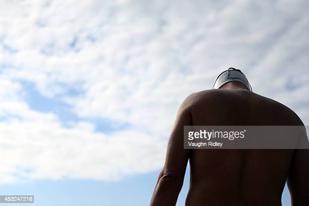 Swimmer prepares for the Men's 50m Freestyle at Parc JeanDrapeau during the 15th FINA World Masters Championships on August 06 2014 in Montreal Canada