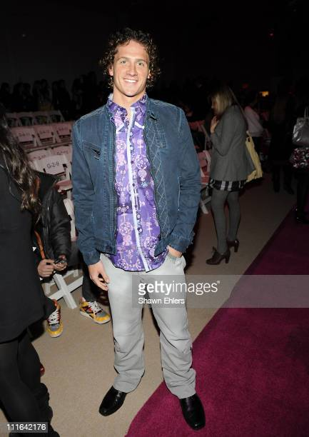 Swimmer Ryan Lochte attends Custo Barcelona Fall 2009 during MercedesBenz Fashion Week at The Promenade in Bryant Park on February 19 2009 in New...