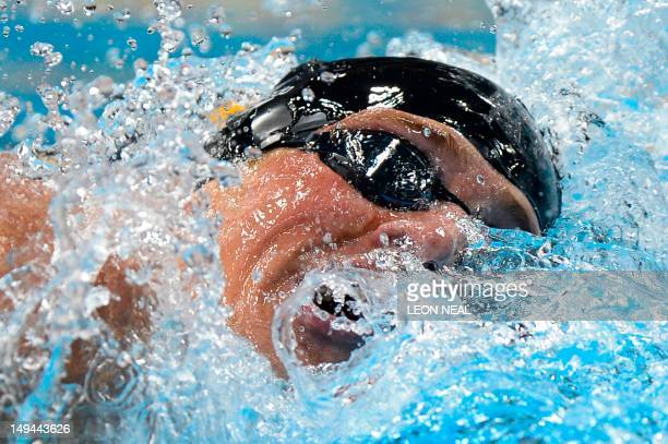 Swimmer Ryan Lochte competes in the men's 400m individual medley final swimming event at the London 2012 Olympic Games on July 28, 2012 in London....