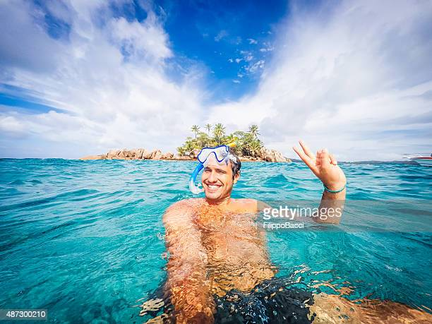 swimmer selfie in a tropical sea - martinique stock photos and pictures