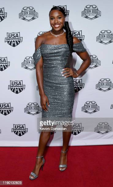 Swimmer Simone Manuel poses during Golden Goggle Awards on November 24 2019 in Los Angeles California