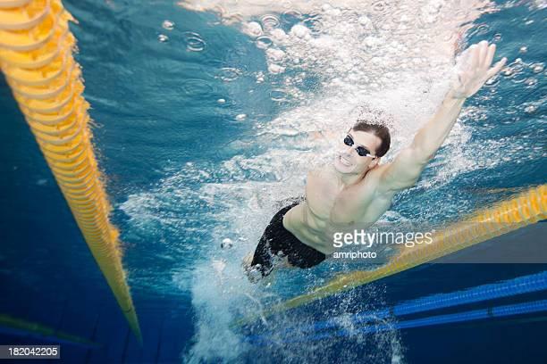 水泳のフロントではしご酒 - 室内プール ストックフォトと画像