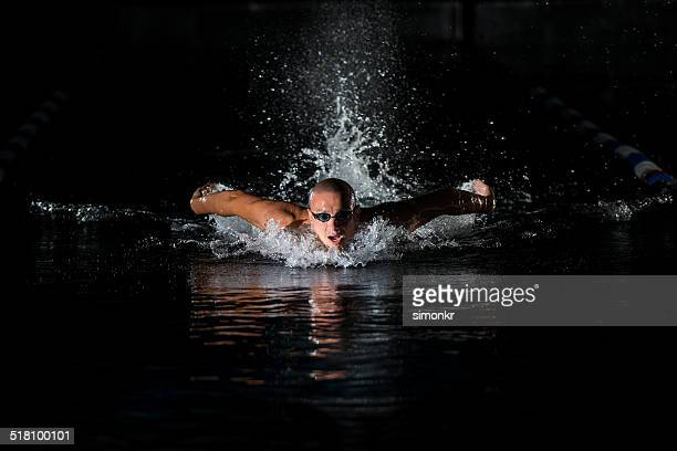 Swimmer Swimming The Butterfly Stroke