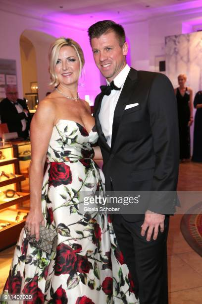 Swimmer Thomas Rupprath and his wife Urte Rupprath during the Semper Opera Ball 2018 reception at Hotel Taschenbergpalais near Semperoper on January...