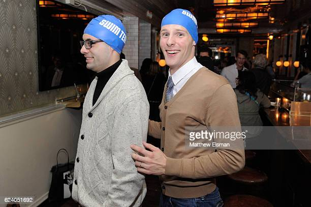 """Swimmer Tom Luchsinger and Mikey McQuay Jr. Pose together for a photo at the afterparty for the New York premiere of """"Swim Team"""" at DOC NYC on..."""