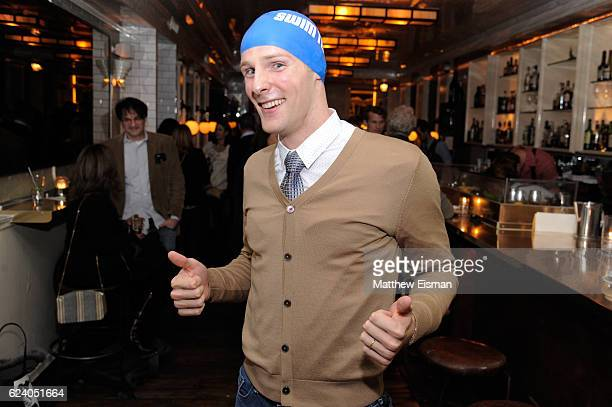 """Swimmer Tom Luchsinger poses for a photo at the afterparty for the New York premiere of """"Swim Team"""" at DOC NYC on November 17, 2016 in New York City."""