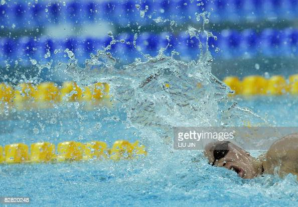 Swimmer Valerie Grand Maison of Canada swims in the women\'s ...