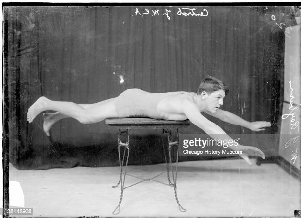 Swimmer W J Rayburn Central YMCA demonstrating breast stroke Chicago Illinois 1909 From the Chicago Daily News collection