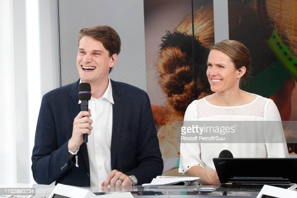 Swimmer Yannick Agnel and Tennis players Justine Henin participate at a Special TV show Roland Garros at France Television french chanel studio...