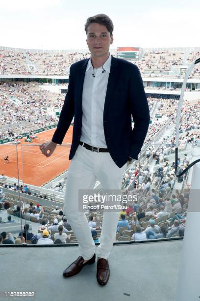 Swimmer Yannick Agnel poses at France Television french chanel studio during the 2019 French Tennis Open - Day Six at Roland Garros on May 31, 2019...