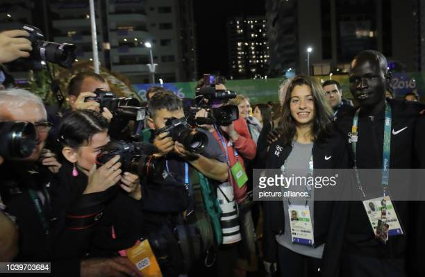 Swimmer Yusra Mardini , of the Refugee Olympic Athletes is seen during the Team Welcome Ceremony for the Refugee Olympic Team at Olympic Village...