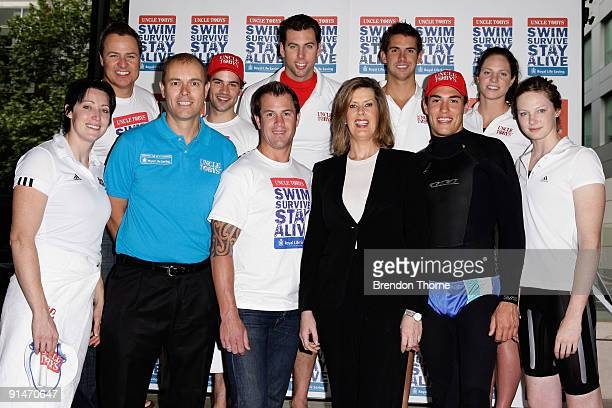 Swimmers and campaign ambassadors Grant Hackett Eamon Sullivan Emily Seebohm Cate Campbell and Jana Pittman launch the Uncle Tobys Swim Survive Stay...
