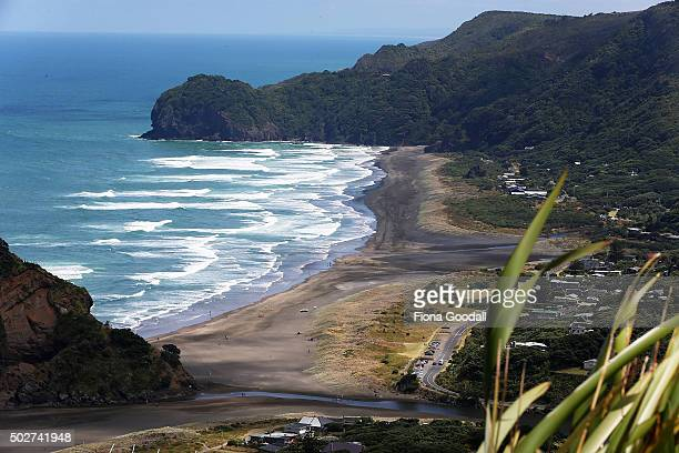 Swimmers are told to swim between the flags at Piha on Auckland's west coast on December 29 2015 in Auckland New Zealand There have been eight...