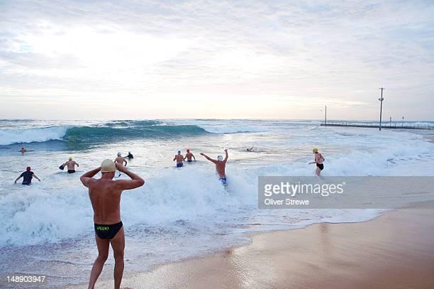 Swimmers at Basin Beach, Bogin Bogin Bay, Northern Beaches.