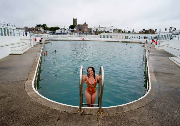 GBR: Cornwall's Lockdown Eases As Iconic Outdoor Lido Pool Reopens