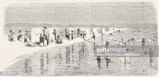 Swimmers at the beach Italy drawing by Quintilio Michetti engraving from L'Illustrazione Italiana No 37 September 16 1877