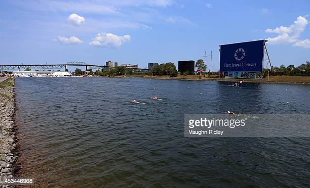 Swimmers compete in the 3km swim during the 15th FINA World Masters Championships at Parc JeanDrapeau on August 10 2014 in Montreal Quebec Canada
