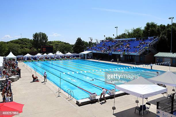 Swimmers compete in the Men's 200m Individual Medley at Parc JeanDrapeau during the 15th FINA World Masters Championships on August 06 2014 in...