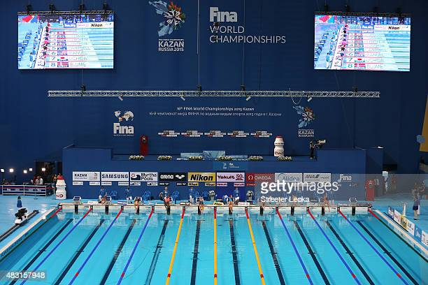 Swimmers compete in the Women's 100m Freestyle Semifinals on day thirteen of the 16th FINA World Championships at the Kazan Arena on August 6 2015 in...