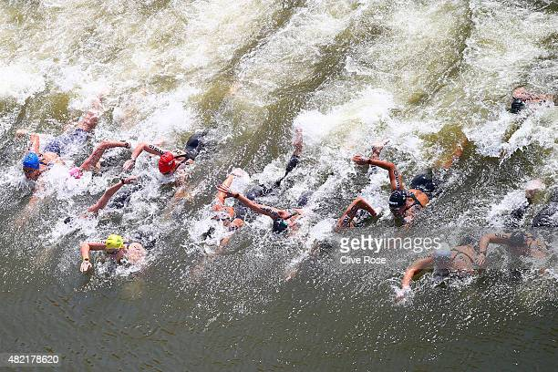 Swimmers compete in the Women's 10km Open Water Swimming Final on day four of the 16th FINA World Championships at the Kazanka River on July 28 2015...