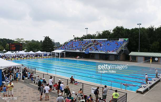 Swimmers compete in the Women's 400m Individual Medley at Parc JeanDrapeau during the 15th FINA World Masters Championships on August 05 2014 in...