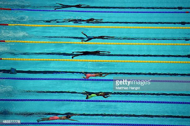 Swimmers compete in the Women's 50m Breaststroke heat 3 on day fifteen of the 16th FINA World Championships at the Kazan Arena on August 8 2015 in...