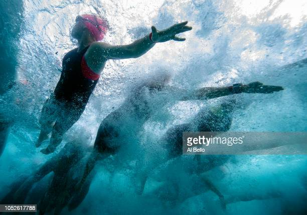 Swimmers competes during the IRONMAN World Championships brought to you by Amazon on October 13, 2018 in Kailua Kona, Hawaii.
