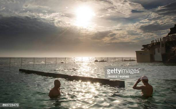 Swimmers cool off at the ocean pool at Bronte Beach on December 16 2017 in Sydney Australia Sydney has been sweltering though its first heatwave of...