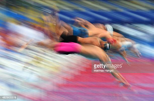 Swimmers dive in for the Men's 800m Freestyle heat 2 on day eleven of the 16th FINA World Championships at the Kazan Arena on August 4 2015 in Kazan...