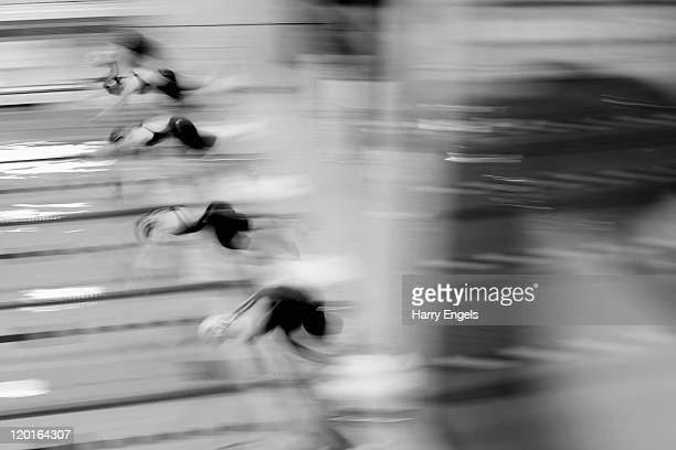 Swimmers dive into the water during the women's final round of the Modern Pentathlon European Championships at Medway Park on July 31 2011 in...