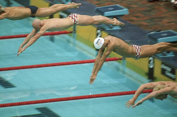 start of olympic butterfly stroke race