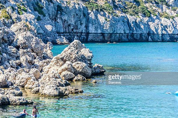 Swimmers enjoying Anthony Quinn Bay - Rhodes, Greece
