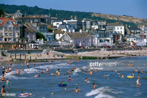 swimmers enjoying the water at lyme bay, england - marina wheeler foto e immagini stock