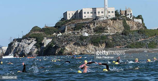 Swimmers head towards the San Francisco from Alcatraz Island at start of the Alcatraz Invitational Swim 500 people participated in the 11th annual...