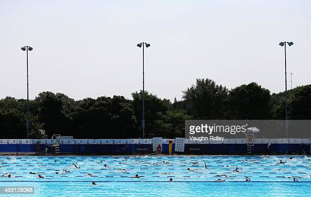 Swimmers in the training pool at Parc JeanDrapeau during the 15th FINA World Masters Championships on August 03 2014 in Montreal Canada